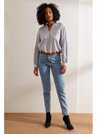 Setre Siyah-Beyaz V Yaka Çizgili Bluz Siyah
